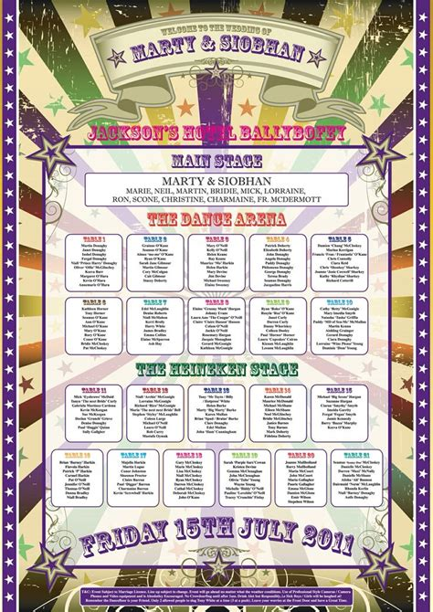 carnival themed names circus theme table plan wedding table plan place name
