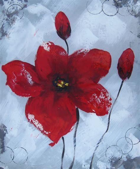 peinture moderne de fleurs rouges huile sur toile mont 233 e sur ch 226 ssis orientation verticale