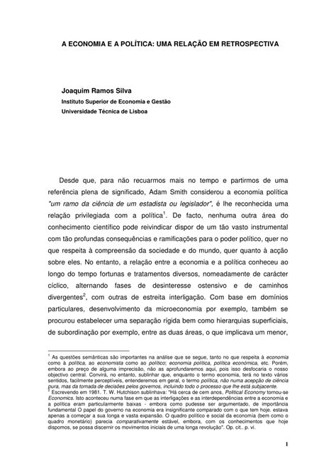 (PDF) A economia e a política: uma relação em retrospectiva