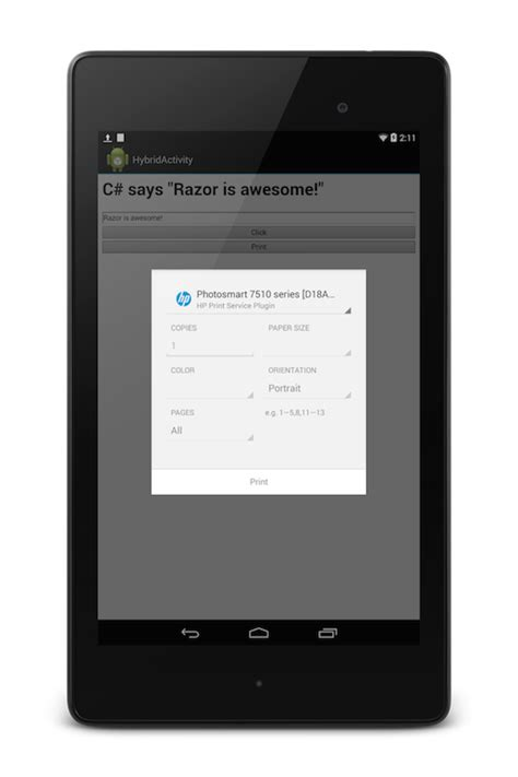 android print printing with android xamarin