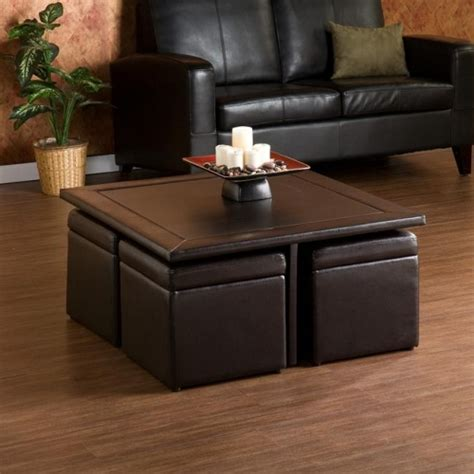 coffee table with 4 ottomans blvd crestfield brown coffee table storage