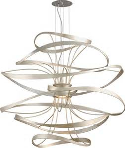 Modern Ceiling Light Fixtures Corbett 213 44 Calligraphy Contemporary Silver Leaf Led Large Drop Ceiling Light Fixture