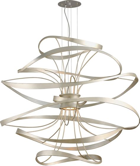 Modern Light Fixtures Ceiling Corbett 213 44 Calligraphy Contemporary Silver Leaf Led Large Drop Ceiling Light Fixture