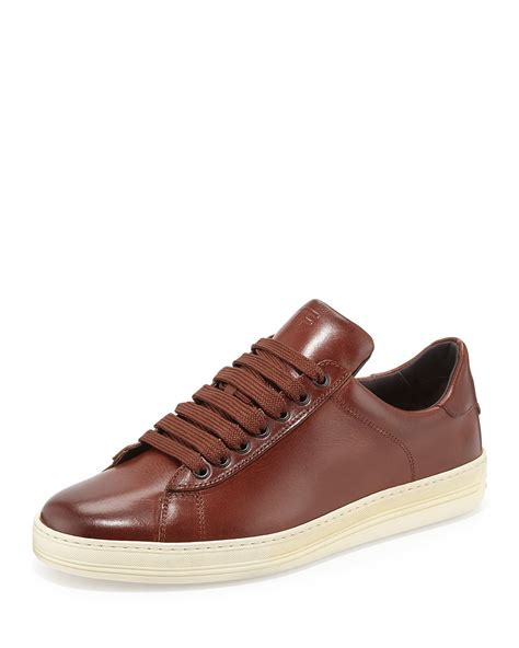 brown sneakers tom ford russel leather low top sneaker in brown for