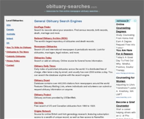 Obituaries Records Free Obituary Searches Free Obituary Searches