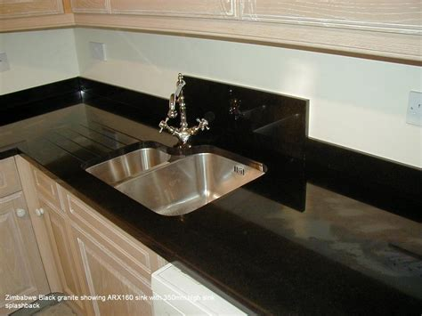 kitchen sink splashback zimbabwe black granite showing arx160 sink with 350mm high