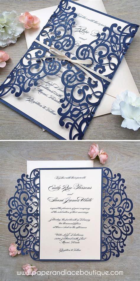 best diy wedding invitations navy and blush laser cut wedding invitation glittering navy laser cut gatefold invite with