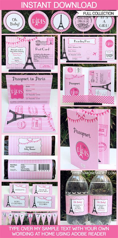 Paris Baby Shower Printables Invitations Decorations Theme Invitation Templates