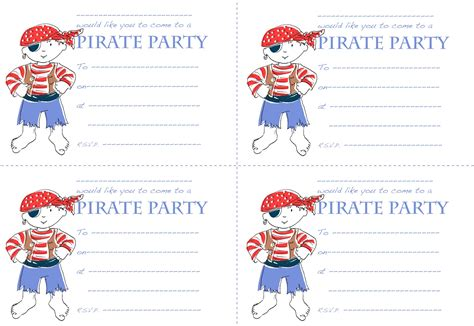 Pirate Birthday Card Template by Woodle Doo Pirate Invitations For You