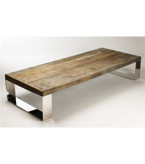 Metal Wood Coffee Table Reclaimed Wood Coffee Table Stainless Steel Legs