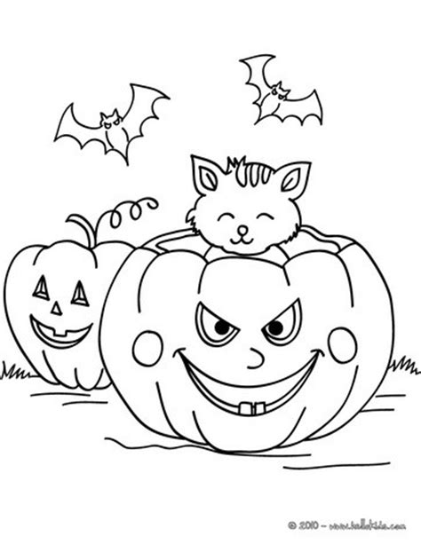 bats and pumpkins coloring pages pumpkin with bats and cats coloring pages hellokids com