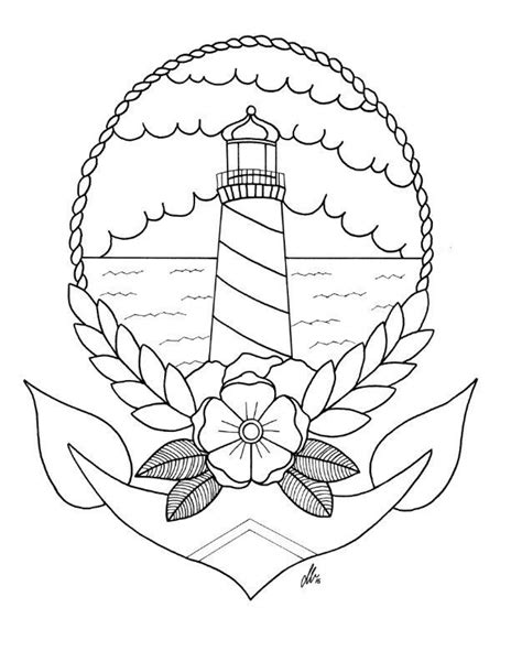 tattoo flash coloring pages 25 b 228 sta id 233 erna om lighthouse tattoos p 229 pinterest
