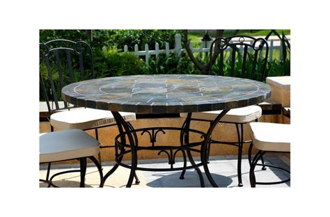 Slate Top Patio Table 125 160cm Slate Patio Dining Table Tiled Mosaic Oceane