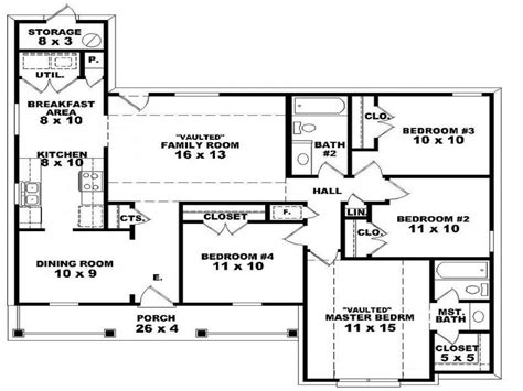 floor plans for a 4 bedroom house 4 bedroom house floor plans home interior design with regard to 3 bedroom 2 bath house plans