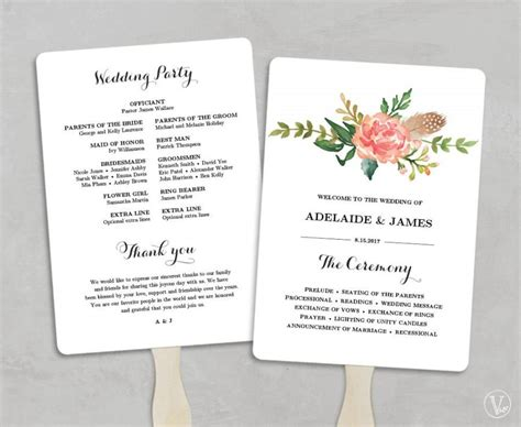 wedding program fans diy template printable wedding program template fan wedding programs