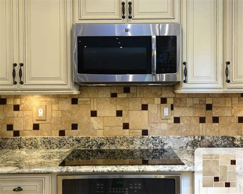 mosaic travertine tile backsplash travertine mosaic backsplash with brown glass tile