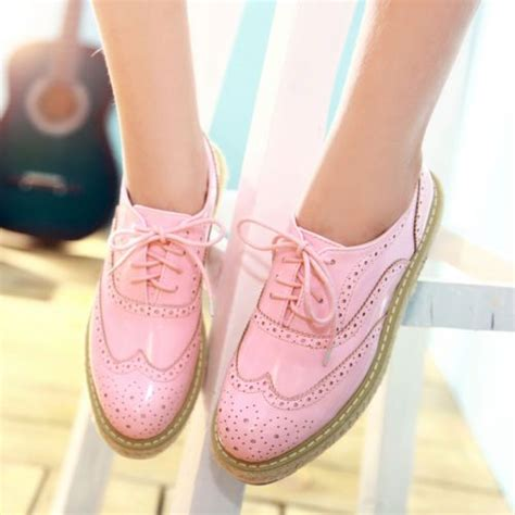 pastel oxford shoes retro style platform shoes and wings on