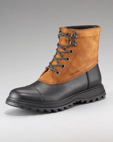 black duck boots prada duck boot in brown for black lyst