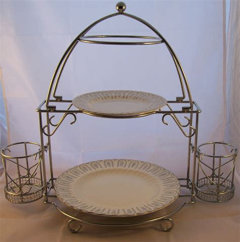 vintage chrome 2 tier buffet server plate holder with