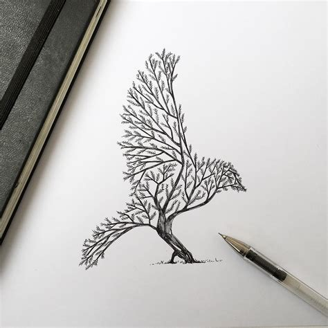 pen ink depictions of trees sprouting into animals by