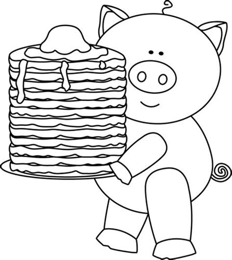 coloring pages of pan cake pig with pancakes clip art black and white pig with