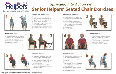 printable exercise program for seniors spring into action with seated chair excercises chair