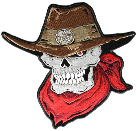 skull cowboy with brown cowboy hat and red scarf large