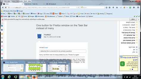 why is my task bar on the top one button for firefox window on the task bar instead of