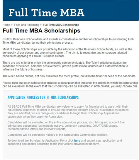 Esade Mba Cost by Esade Time Mba Scholarships For International