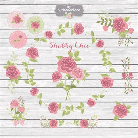 shabby chic rose cliparts illustrations on creative market