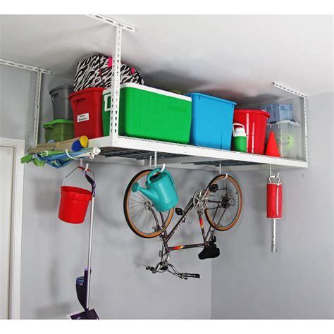 High Ceiling Garage Storage Ideas White 4x8 Overhead Garage Storage Shelves With Bicycle