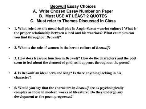 beowulf themes and exles beowulf themes 1 the importance of establishing an