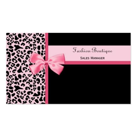 Boutique Business Cards Template by Trendy Pink Leopard Print Fashion Boutique Sided