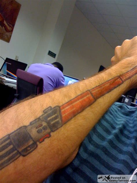 lightsaber tattoo the right to wars forearms geeky tattoos