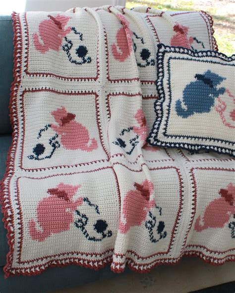 pattern for cat afghan country kittens afghan crochet pattern pdf