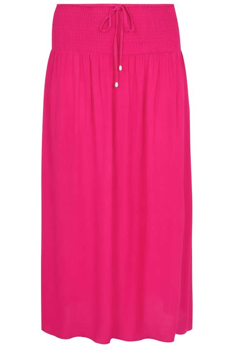 Hot Pink Maxi Skirt With Ruched Waistline, Plus size 16 to 36