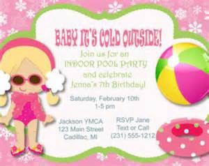 winter pool invitation winter birthday invite indoor