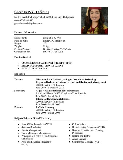 Resume Exles In Philippines Gene Iris Tanedo Resume 2016