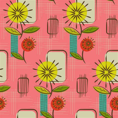 mid century wallpaper mid century modern dandelions salmon fabric