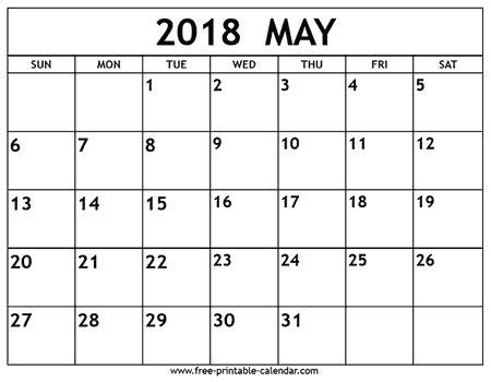 Calendar May 2018 May 2018 Calendar Free Printable Calendar