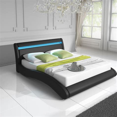 led bed contemporary king size bed in black pu with multi led light