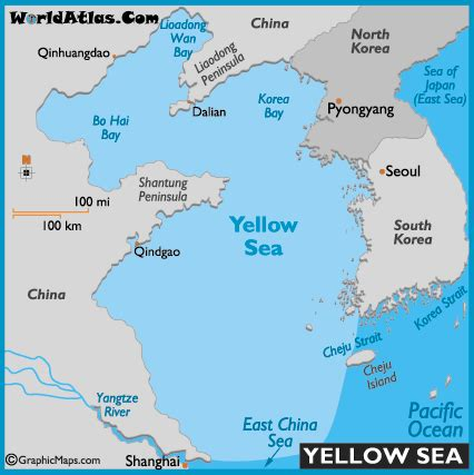 Yellow Sea Map And Map Of The Yellow Sea Size Depth Map Of The World Colouring Page