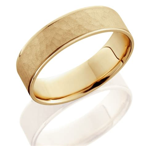 14k yellow gold mens brushed hammered wedding band 6mm ebay