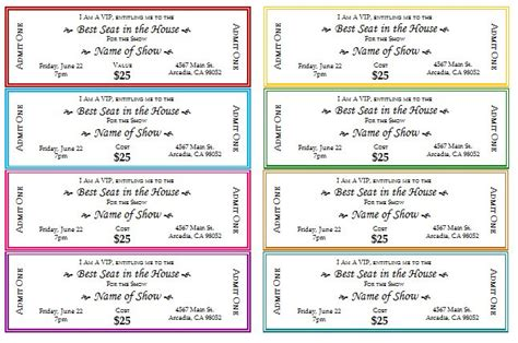 printable event tickets event ticket template printable templates pinterest