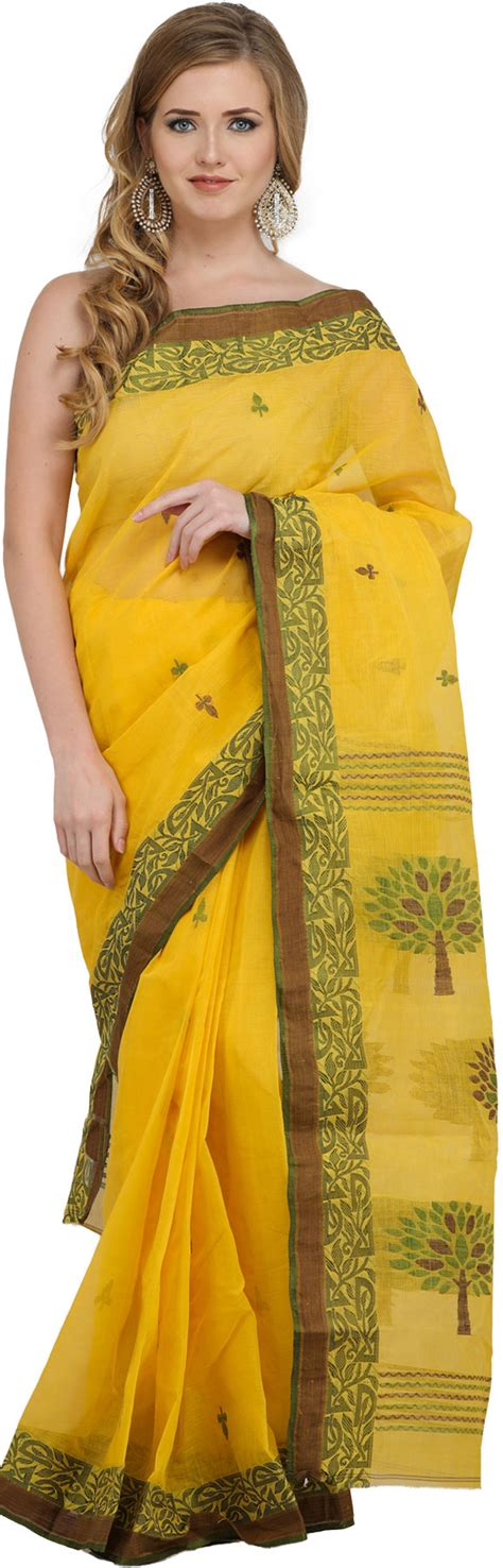 Sari Lemon lemon purbasthali sari from bengal with woven trees on pallu