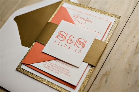 coral and gold wedding invitations real wedding and steven coral and gold glitter