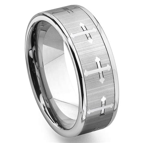 tungsten carbide s wedding band ring with cross design