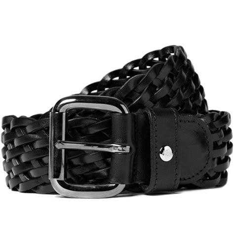 mulberry plaited leather belt in black for lyst