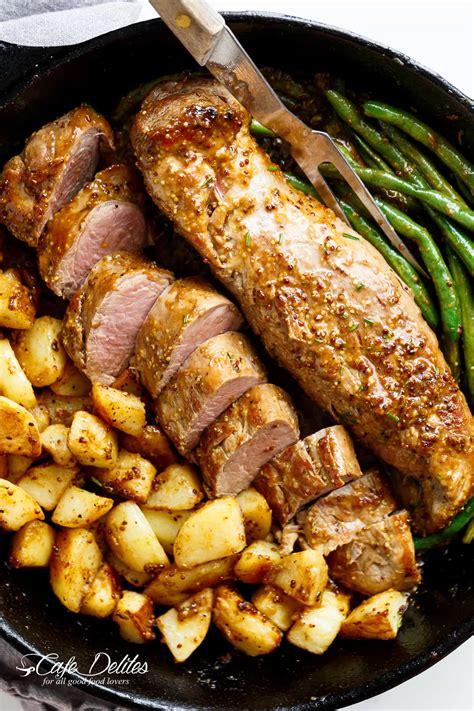 dijon cuisine one pan dijon garlic pork tenderloin veggies cafe delites