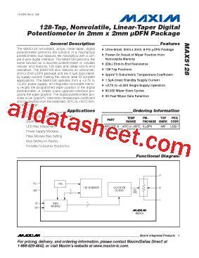 Ic Ds1855 Dual Nonvolatile Digital Potentiometer 050146 max5128 datasheet pdf maxim integrated products